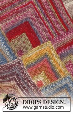 "Knitted DROPS blanket with domino squares in ""Fabel"". ~ DROPS Design"