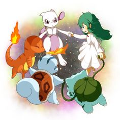Mewtwo, and his clone friends— Amber (girl), Charmander2, Bulbasaur2, and Squirtle2