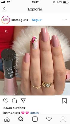 58 Ideas For Nails Sencillas 2017 Hot Nails, Hair And Nails, Stylish Nails, Manicure And Pedicure, Nails Inspiration, Beauty Nails, Pretty Nails, Nail Colors, Nail Art Designs