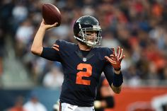 Brian Hoyer Photos Photos - Brian Hoyer #2 of the Chicago Bears looks to pass during the first half of a game against the Detroit Lions at Soldier Field on October 2, 2016 in Chicago, Illinois. - Detroit Lions v Chicago Bears