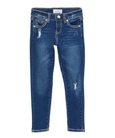 This Medium Blue Distressed Jeans - Girls by miniMOCA is perfect! #zulilyfinds