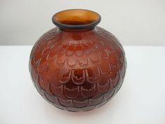 R Lalique France Amber Grenade Art Glass Vase c1930