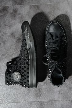 Original Converse Spike Studded Sneakers Black 6KE — Virginblak