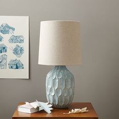 """Comes in yellow. 20"""" high; $129 On top of the entry shelf. Linework Table Lamp #westelm"""