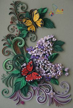 *QUILLING ~ by: neli: Quilling panel with frame and glass # 3 -/ 33 -27 cm/