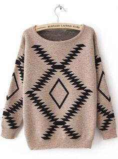 1e6be812e74f Khaki And Blue Geometric Diamond Pattern Loose Bat Sleeve Sweater