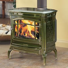Shelburne 8371 wood stove with with basil majolica enamel finish, by Hearthstone. Heats up to 1800 sq. ft. Available from Rich's for the Home http://www.richshome.com/