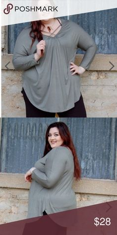 Cross My Heart Top This long sleeve tee is a must have!!  Lightweight and perfect for Spring!  The criss cross neckline is one of this season's HOTTEST trends as well as the back cutout!  Features longer, tunic style length and trendy, rounded hemline.  Fits true to size.  Light olive color.  No trades! Bundle to save! Tops Tunics