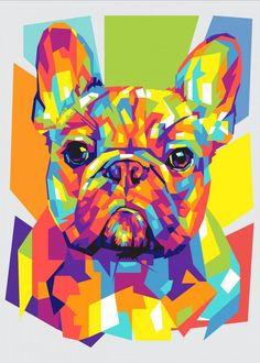 Pintura Vector, French Bulldog Art, French Bulldogs, Dog Pop Art, Animal Posters, Arte Pop, Animal Paintings, Pet Portraits, Canvas Art Prints