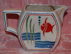 Vintage Ceramic Pottery Fish Motif Water Pitcher Toshiro Shoten Japan 1930'S | eBay