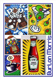 Burton Morris pop art 3 Middle School Art Projects, Graffiti Wall Art, Kandinsky Art, Art, New Year Art, Pop Art Food, Jr Art