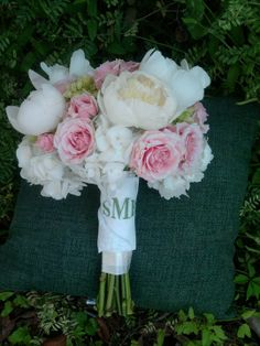 I love the idea of the bouquet wraps having each girl's initials on them. White Hydrangeas, Green Hydrangea, White Peonies, Bouquet Wrap, Rose Bouquet, Our Wedding Day, Plan Your Wedding, Wedding Inspiration, Wedding Ideas