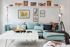 interior, living room, modern, luxury, home, decor, decorating, ideas, eclectic, white coffee table, aqua, blue, sofa