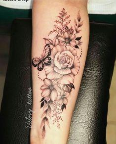 tattoos for women half sleeve Forearm Flower Tattoo, Forearm Sleeve Tattoos, Flower Tattoo Shoulder, Sleeve Tattoos For Women, Forarm Tattoos, Rose Tattoos, Flower Tattoos, Body Art Tattoos, Maori Tattoos