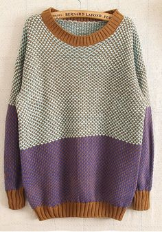 ++ multicolor patchwork print round neck wool blend sweater