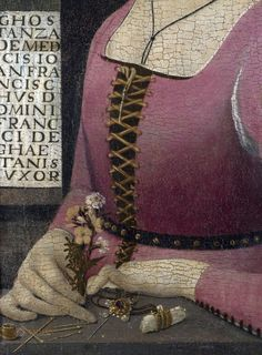 Portrait of Costanza Caetani, detail. - The sitter, identified in the inscription as a member of the Medici family, was born in about 1469 and by 1489 had married a prominent Florentine citizen. The flowers and jewels (a pendant and three finger rings on a bolster) may well refer to her betrothal.  The painting has in the past been attributed to the young Fra Bartolommeo, when he was much influenced by Domenico Ghirlandaio.
