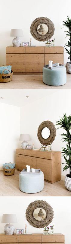 Pluma espejo | ¡Un toque muy personal en tu hogar!  El espejo redondo Pluma es el complemento decorativo perfecto para conseguir un ambiente distintivo y único. Podrás colgarlo en la pared del recibidor, en el salón o donde más te guste, ¡este espejo metálico quedará ideal en cualquier rincón!  #kenayhome #home #espejo #redondo #metálico #pluma #ocre #decoración #recibidor #entrada #salón #hogar #dormitorio #deco #decor #pared #walldecor #aparador #nude #puf #capazo Interior Decorating, Interior Design, Home Living Room, Country Style, My House, Sweet Home, Furniture, Home Decor, Decorating Ideas