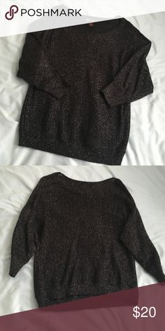 Glittery Black Sweater Perfect with a pair of jeans and boots! Glitter accents sewn in makes it a great wear for the holidays! Size large Sweaters Crew & Scoop Necks