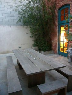 picnic table separate benches... and end benches :)  We would like to sit there and have dinner with y'all,  Nanny