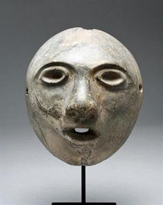 Expressive Colima Stone Mask Pre-Columbian, West Mexico, Colima, ca. 500 BCE - 500 CE. The ancie