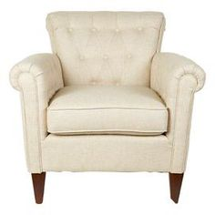 """Handmade scroll-back arm chair with button-tufted detailing and ivory linen and art silk upholstery.  Product: ChairConstruction Material: Linen and art silk Color: IvoryFeatures: HandmadeDimensions: 32"""" H x 32"""" W x 32"""" DNote: Some assembly requiredCleaning and Care: Spot clean"""