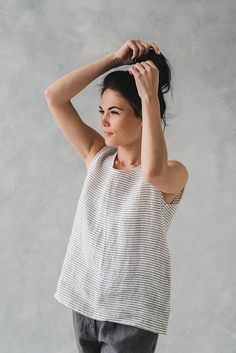 Striped Loose Linen Blouse ANA/ Women Linen Blouse / Linen Tank Top /Round Neck Washed Linen Blouse / Swing Summer Top /Sleeveless Linen Top Linen Blouse, Colored Pants, Color Shorts, Feminine Style, The Fresh, The Ordinary, Warm Weather, Blouses For Women, Casual Outfits