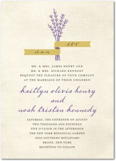 Lavender Bunch:Baroque - One option for invitations. Ties in our engagement in Provence.
