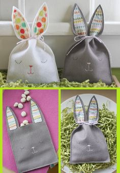 "Easter ~ Sleepy Bunny Felt Goody Bags - Quoting the blogger: ""These were so simple to make – cut out a back and front, stitch the little face, and sew the two pieces together, leaving a gap between the ears so you can fill it with treats.""  (tutorial at probablyactually)"