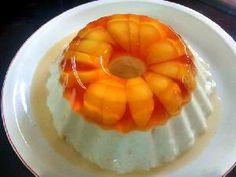 Postre de gelatina light con yogur de durazno - solo postres