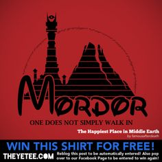 One does not simply walk into the happiest place in Middle Earth! Warren Hart's rad mash up shirt is on sale at TheYetee for $11 until August 31st.  Get a chance at winning it for free by reblogging this post or go to TheYetee's Facebook page for another way to win! Winners announced on Aug 31st.  The Happiest Place in Middle Earth by Warren Hart (RedBubble) (Twitter)  Via: theyetee