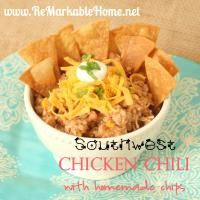 Southwest Chicken Chili with Homemade Tortilla Chips on MyRecipeMagic.com. This is the best chili!!