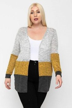 Made In U.S.A 1XL.2XL.3XL Color block, lightweight cardigan featuring three colored knits, an open front, and long sleeves. 33% Rayon 63% Polyester 3% Spandex Dark Grey/Multi POL Color Block, Lightweight Cardigan Plus Size Cardigans, Plus Size Tops, Outfits Winter, Night Outfits, Spandex, Lightweight Cardigan, Striped Cardigan, Knit Cardigan, Cardigan Fashion