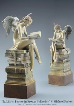 """""""Ex Libris, Beauty in Bronze Collection"""" statue  © Michael Parkes (Artist, USA-Spain) via his site. Fantasy Art, Magic Realism. [Do not remove caption. international copyright law requires you to credit the artist. Link directly to his website.]   PINTEREST on COPYRIGHT:  http://pinterest.com/pin/86975836526856889/ The Golden Rule: http://www.pinterest.com/pin/86975836527744374/ Food for Thought: http://www.pinterest.com/pin/86975836527798092/"""