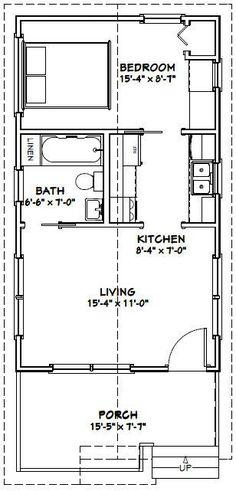 16x28 1-Bedroom 1-Bath House -- #16X28H1A -- 448 sq ft - Excellent Floor Plans
