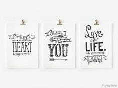 Hand-Drawn-Valentines from funky time - printable black and white postcards and tags