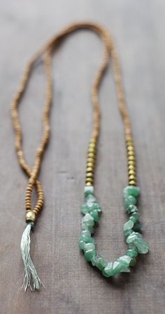 Mixed Media Boho Necklace / Green - Golden - Brown Necklace / Gemstone Necklace / Green Nekclace