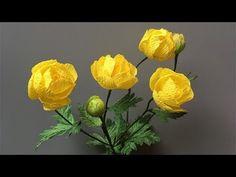 ABC TV   Как сделать желтый бумажный цветок Олеандра из крепированной бумаги - учебник по ремеслу - YouTube