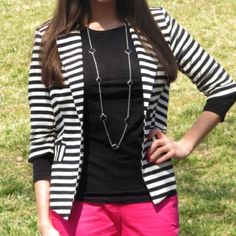 Striped blazer 83% polyester, 14% rayon, 3% spandex. Soft black and white blazer. Pink will not show once the blazer is on. Jackets & Coats Blazers