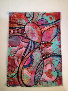 Diane's Mixed Media Art Gelli print with doodles