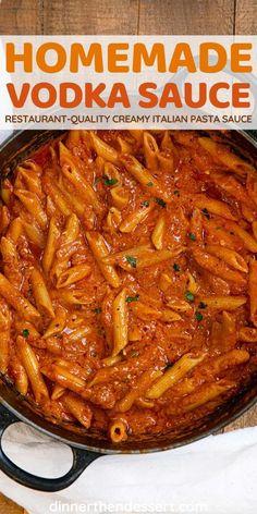 Homemade Vodka Sauce, Vodka Sauce Pasta, Pasta Sauce Recipes, Homemade Pasta Sauces, Healthy Pasta Sauces, Pasta Dinner Recipes, Italian Dishes, Italian Recipes, Vegetarian