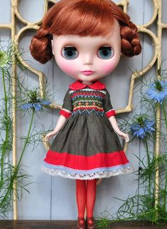 smocked dress brown&red by MayrinDolldress on Etsy