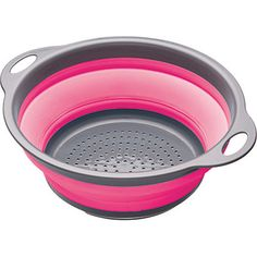 KitchenCraft Colourworks Collapsible Colander in Pink