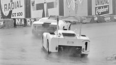 At Spa, despite breaking the track record in qualifying (faster than the previous year's F1 speed), heavy rain slowed the 2F. Slick conditions offset the Chaparral's horsepower edge, and having to replace a dead battery cost more time. Still, once the track dried, Spence set fastest lap several times in pursuit of the Ickx Mirage. A failed gearbox sidelined the 2F yet again. della Faille photo.