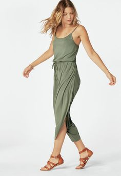 54209981293d Draped Jumpsuit in Duck Green - Get great deals at JustFab Jumpsuits