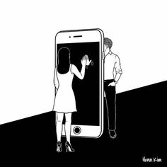 I don't know you but I want you, by Henn Kim Distance Love, Long Distance, Art Sketches, Art Drawings, Henn Kim, Relationship Drawings, Love Illustration, Love Art, Art Inspo