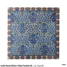 Iznik Floral Ethnic Tribal Turkish Mosaic Pottery Small Square Tile