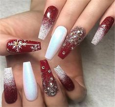 60 Simple Acrylic Coffin Nails Designs Ideas for 2019 - Winter Nails Acrylic - Chistmas Nails, Cute Christmas Nails, Xmas Nails, Christmas Nail Art Designs, Winter Nail Designs, Christmas Time, Christmas Acrylic Nails, Elegant Christmas, Holiday Nails