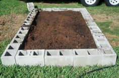 raised garden bed out of cinderblocks!!