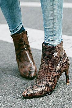 4ec677487fd11 Snake Print Stiletto Heel Side Zipper Color Block Pointed Toe Ankle Boots