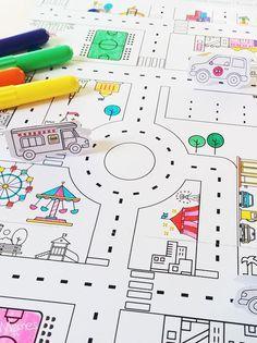 Un super jeu de route imprimer et colorier pour crer un circuit linfi
